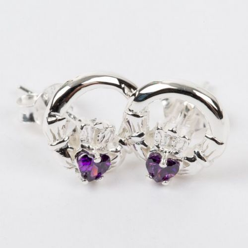 Claddagh Earrings Sterling Silver Amethyst CZ Stone